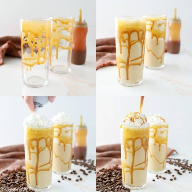 collage of Starbucks caramel frappuccino recipe steps 5 to 8