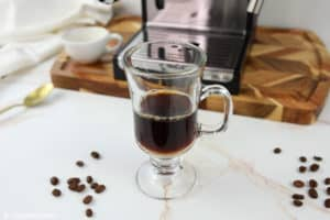 espresso in a glass mug.