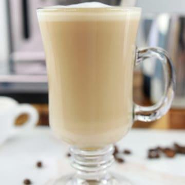 homemade Starbucks flat white coffee in a mug.