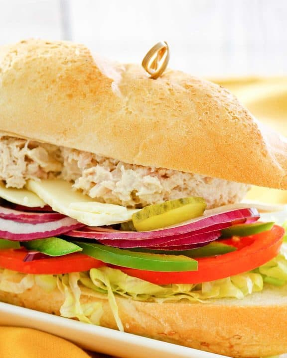 homemade Subway tuna salad sub sandwich.